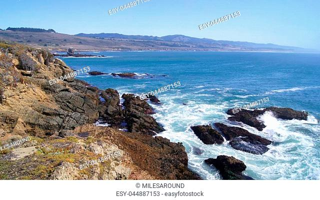 BIG SUR, CALIFORNIA, UNITED STATES - OCT 7, 2014: Cliffs at Pacific Coast Highway Scenic view between Monterey and Pismo Beach in CA along Highway No 1, USA