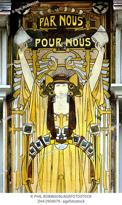 Brussels, Belgium. Maison Cauchie / Cauchie House / Cauchiehuis (Paul Cauchie, 1905: Art Nouveau) at Rue des Francs 5. Allegorical sgraffiti on the facade