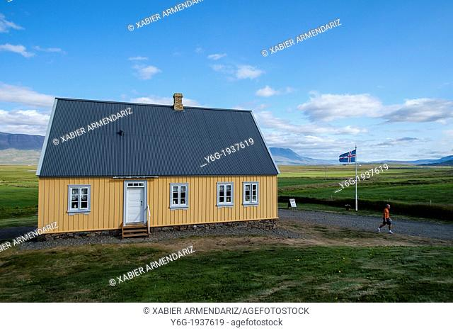 Traditional house of the nineteenth century in the vicinity of Glaumbær, Iceland, Scandinavia, Europe