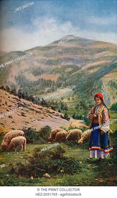 'Bulgaria. It is but rough pasture in the Isker valley, where the Sofia-Plevna railway follows the stream on its winding way', c1920