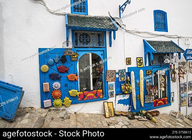 Hillside shops along the cobbled streets of Sidi Bou Said. Tunisia, Africa