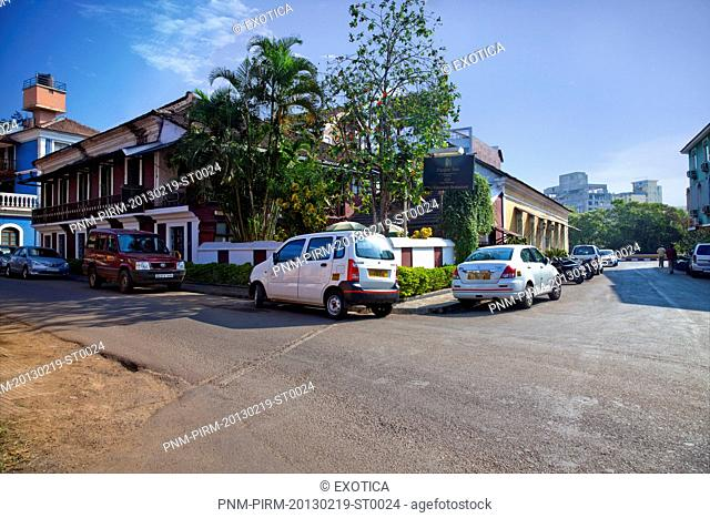 Cars on the road, Verandah Restaurant, Panaji, North Goa, Goa, India