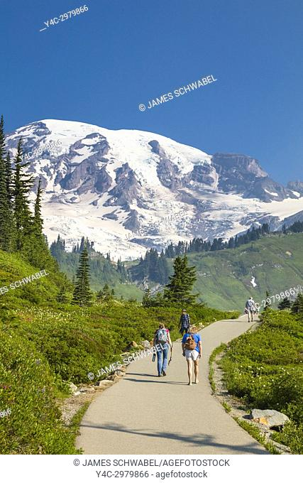 Myrtle Falls walking trail at the Paradise section of Mount Rainier National Park in Washington State in the United States