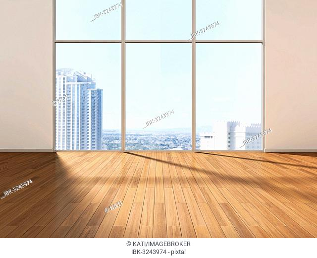 Empty room in front of a skyline