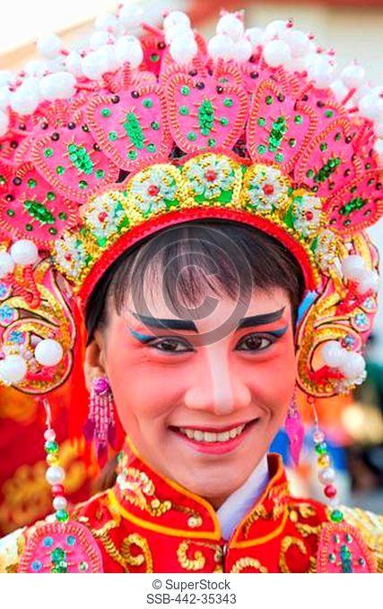 Close-up of a Chinese opera performer, Chinatown, Bangkok, Thailand