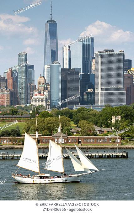 Schooner Adirondack sailing in New York Harbor on sightseeing cruise