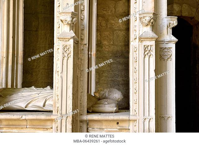 France, Gard, Villeneuve les Avignon, the Val de Benediction chartreuse, the church, Lying tomb of Innocent VI, pope between 1352 and 1362 and coming from...
