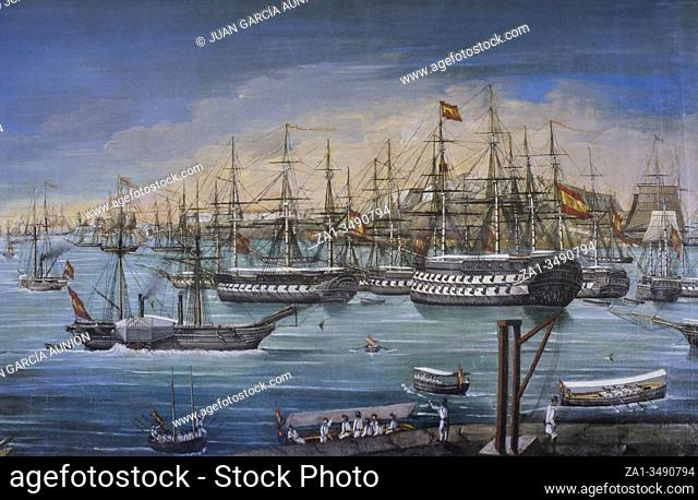 Spanish squadron anchored in La Habana, 19th Century. Painted by Ramon Salvatierra y Molero. Museo Naval, Madrid