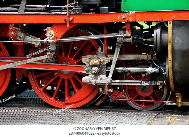 Detail of a vintage steam locomotive