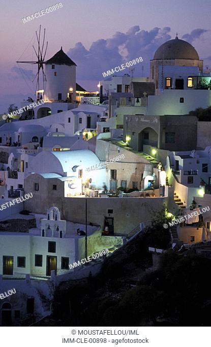 Oia's Village at night, Santorini, Cyclades, Greece, Europe