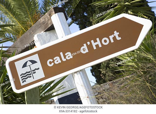 Cala Hort Beach Direction Sign; Ibiza; Spain