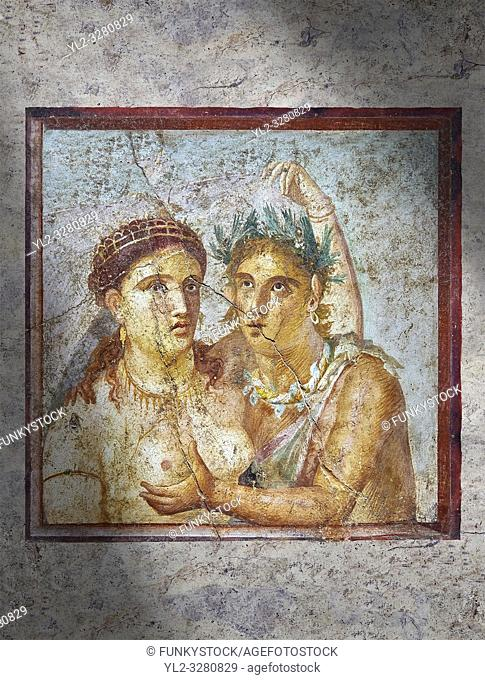 A Roman erotic fresco painting from Pompeii depicting satyr caressing a maiden, Naples National Archaeological, 1st cent AD