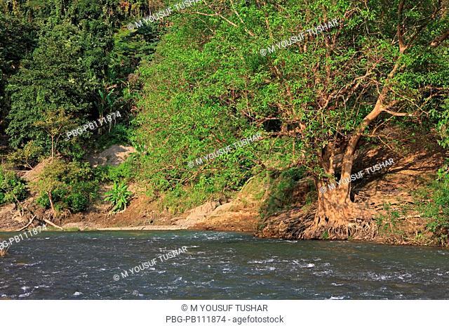 Natural view of the Sangu river at Tindu Bandarban, Bangladesh December 2009