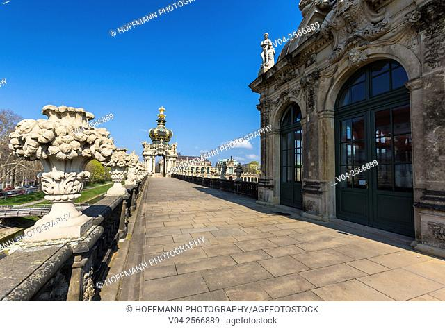 The picturesque roof of the Crown Tower at the Zwinger (Dresdner Zwinger) in Dresden, Saxony, Germany, Europe