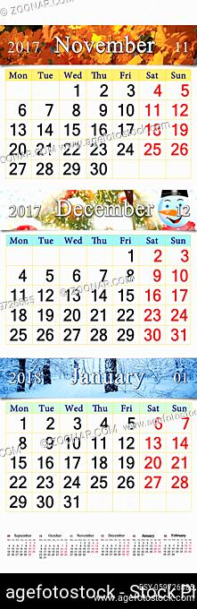 November December 2017 and January 2018 with colored pictures in form of triple calendar