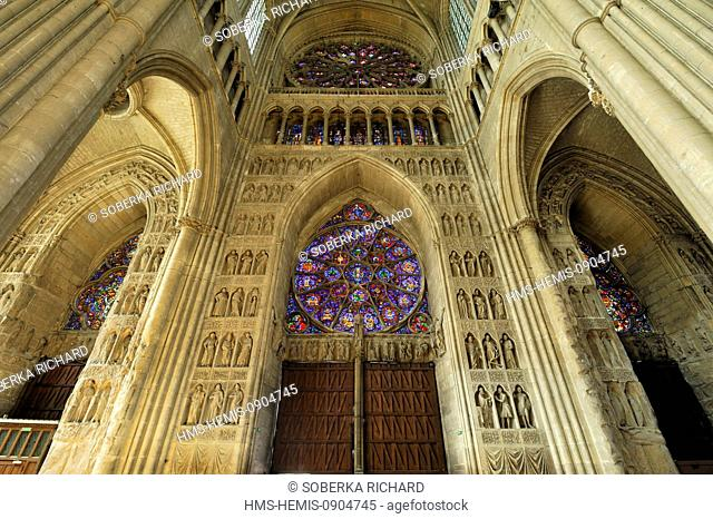 France, Marne, Reims, Notre Dame Cathedral listed as World Heritage by UNESCO, inner walls and large rose windows
