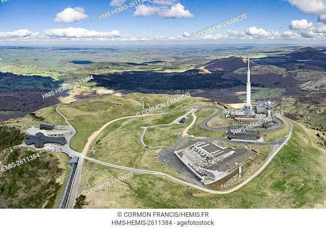 France, Puy de Dome, Orcines, Chaine des Puys, Regional Natural Park of the Auvergne Volcanoes, the summit of Puy de Dome volcano (aerial view)