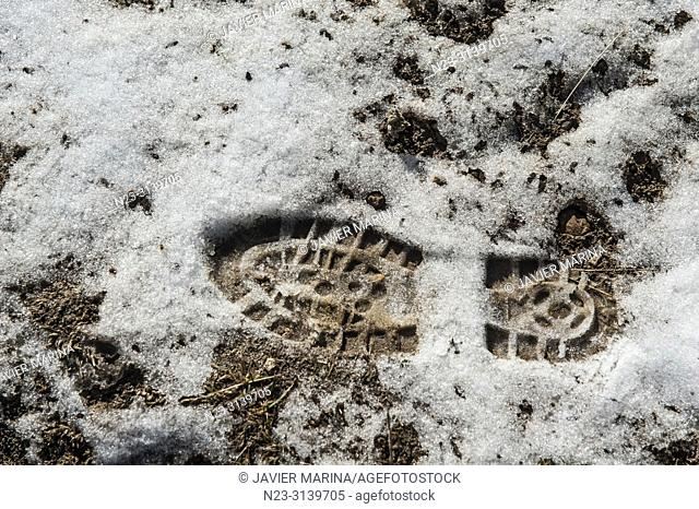 Footprint of a boot in the snow, Mora de Rubielos, Teruel province, Spain