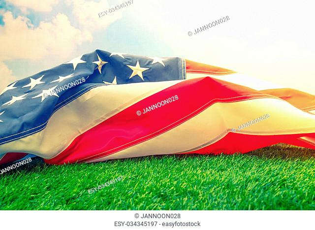 American flag on green grass ( Filtered image processed vintage effect. )