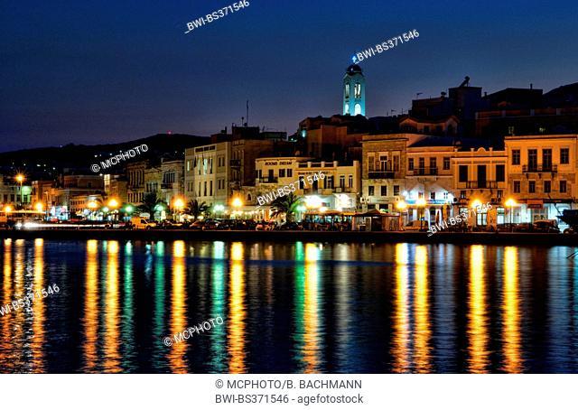 Hermoupolis, capital of the Greek Island Syros, at night, Greece, Syros