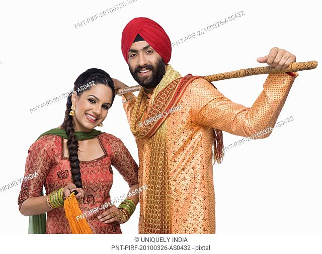 Portrait of a Sikh couple smiling