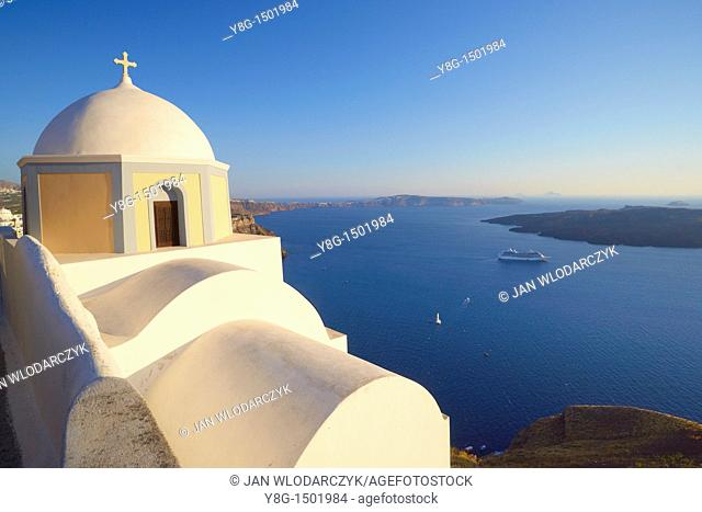 View over sea from Fira, Santorini Island, Cyclades, Greece