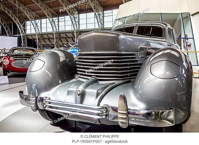 1937 Cord Type 812, American luxury car produced by Cord Automobile at Autoworld, oldtimer museum in Brussels, Belgium