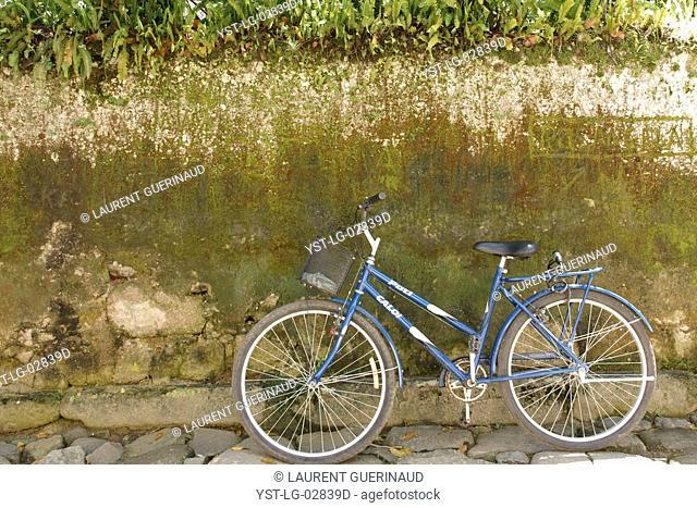 Bicycle, Wall, Paraty, Rio de Janeiro, Brazil