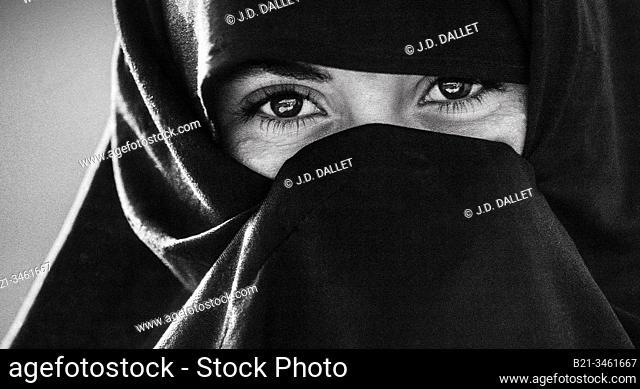 Morocco, woman near Tafraoute