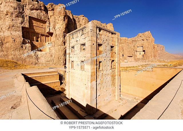 Kaba-i Zardust building and the royal Archaemenid tombs at Naqsh-i Rustam, Iran