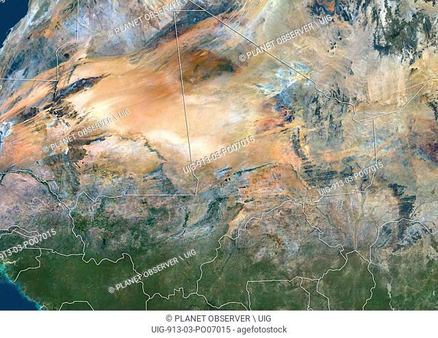 Satellite view of Mali (with country boundaries). This image was compiled from data acquired by Landsat 8 satellite in 2014