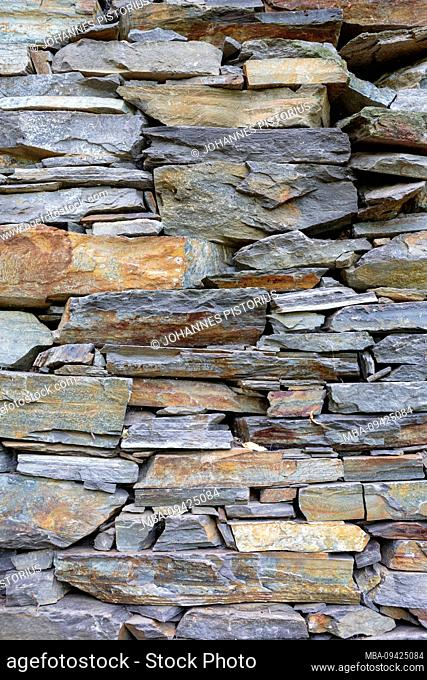 Europe, Italy, Piedmont, Cossogno. Typical stone wall of an abandoned house in the Val Grande