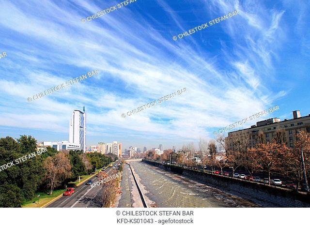 Chile, Santiago, View of Mapocho River from Condell Bridge, Providencia