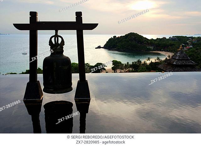 Bell at Pool of luxury hotel Pimalai Resort, Kantiang Beach, Ko Lanta or Koh Lanta island, Krabi, Thailand, Asia. Pimalai Resort & Spa is a luxury beach resort...