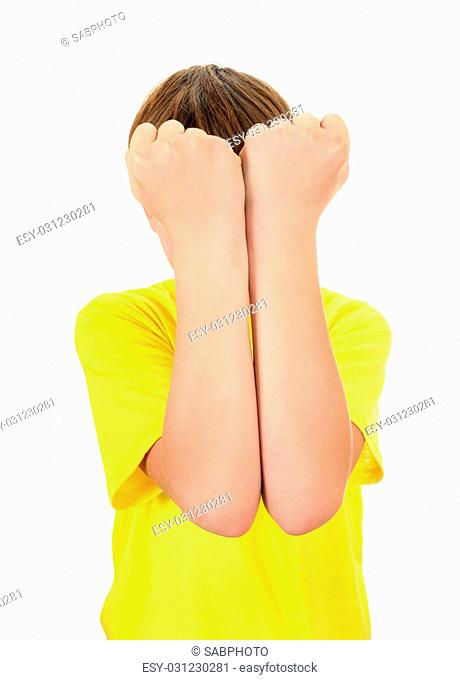 Kid close the Face Isolated on the White Background