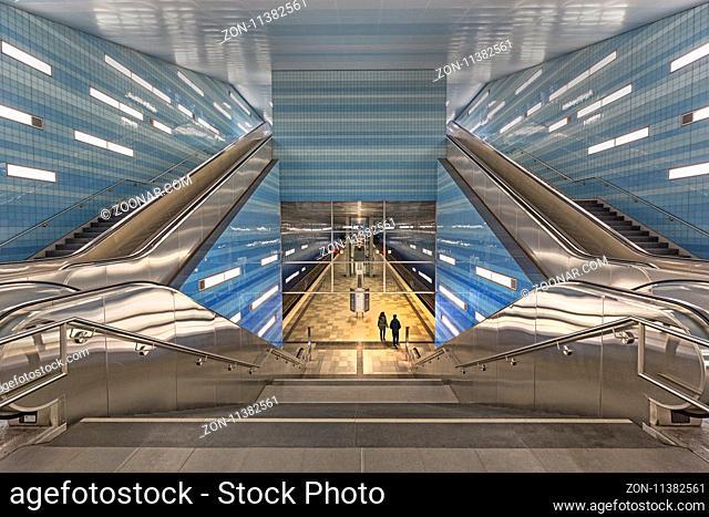 U-Bahn Station Überseequartier Hamburg, Deutschland, Europa / Überseequartier U-Bahn station, Hamburg, Germany, Europe