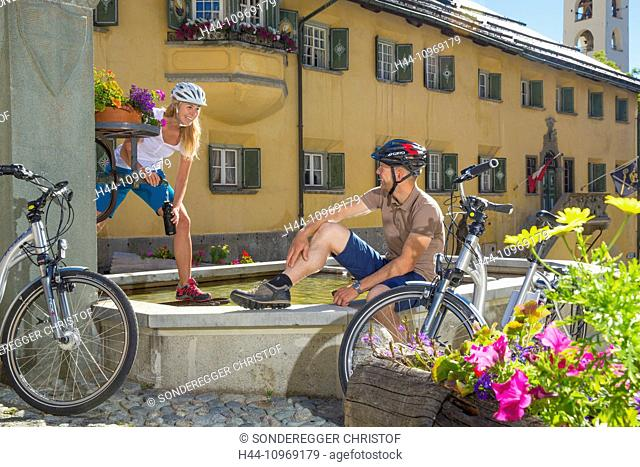 Engadin, Engadine, Zuoz, GR, canton, Graubünden, Grisons, Upper Engadine, summer, village, bicycle, bicycles, bike, riding a bicycle, summer sport, Flyer, eBike