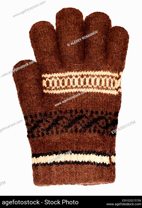 Brown wool glove isolated on white