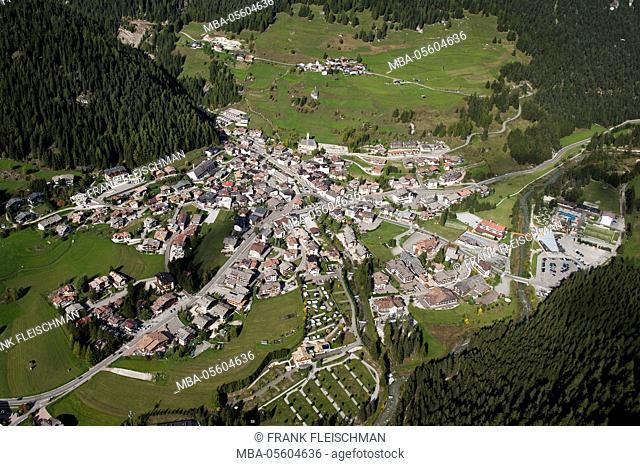 Campitello in Val di Fassa, dolomites, aerial picture, mountain village, Trentino, Italy
