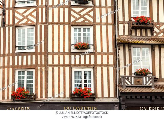 Old houses in the cnetre of Honfleur, Calvados