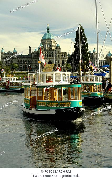 Victoria, British Columbia, Canada, Vancouver Island, Inner Harbour, Parliament Buildings, waterfront, water taxi