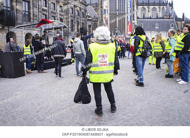 Protestors wearing yellow vests attend a protest against the government in Amsterdam, Netherlands on April 6, 2019. The French yellow vest protest movement is...