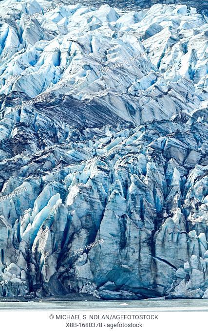 A close up view of Lamplugh Glacier in Glacier Bay National Park and Preserve, Southeast Alaska, USA