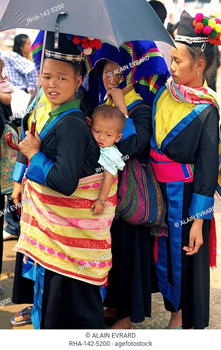 A Hmong Hill tribe woman and baby in Luang Prabang, Laos, Indochina, Southeast Asia, Asia