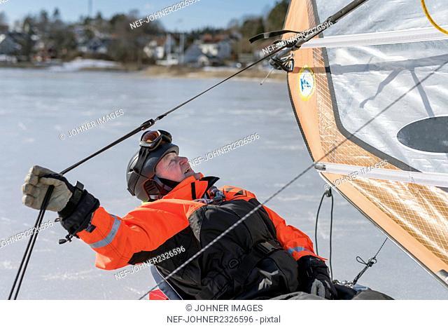 Man on ice boat
