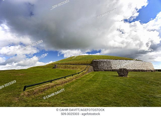 The UNESCO World Heritage Site Neolithic, Bru na Boinne complex, Newgrange Passage Tomb Monument, in the Boyne Valley, Slane, Co