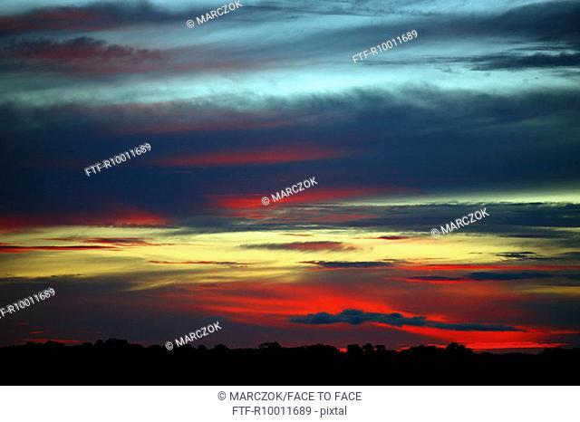 Sunset over a river Rio Negro, Brazil, Amazonas