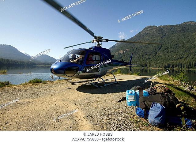 Heli pickup, Buttle Lake, BC, Canada
