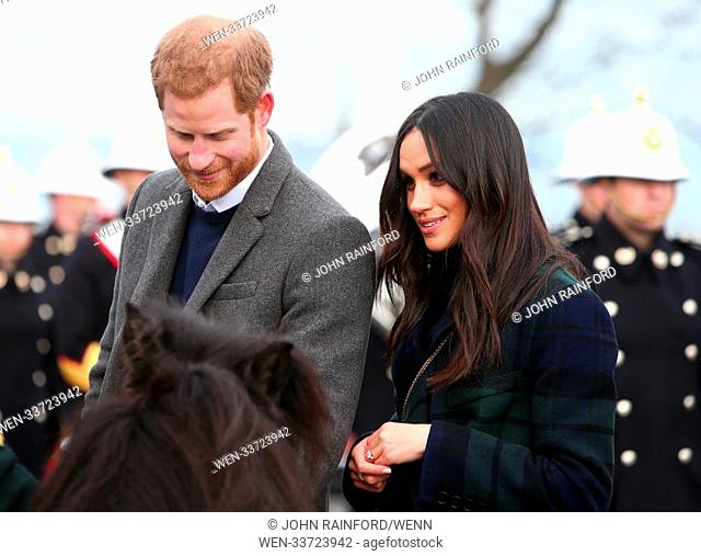 Prince Harry and Meghan Markle visit Edinburgh Castle on what is the couple's first visit to the Scottish capital together Featuring: Prince Harry