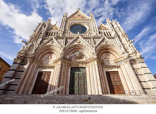 The Duomo di Siena or Siena Cathedral. It is a medieval church that was originally designed and completed between 1215 and 1263 on the site of an earlier...